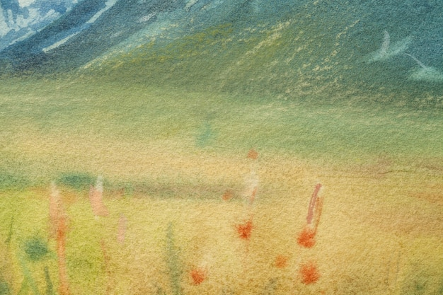 Arte astratta sfondo verde chiaro e colori gialli. dipinto ad acquerello su tela con morbida sfumatura verde oliva. frammento di opera d'arte su carta con disegno di campo. sfondo texture.