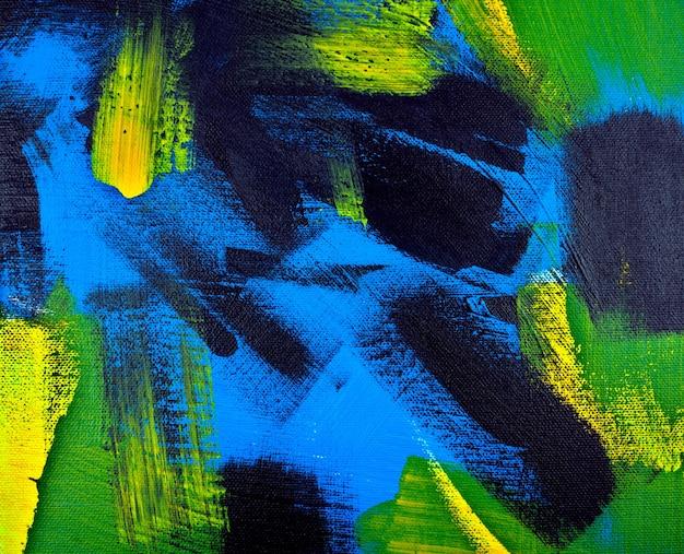 Sfondo astratto acrilico nero giallo blu verde colori pittura su tela fatta a mano