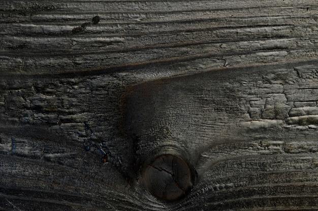 Fondo astratto della vista superiore del primo piano del bordo di legno bruciato