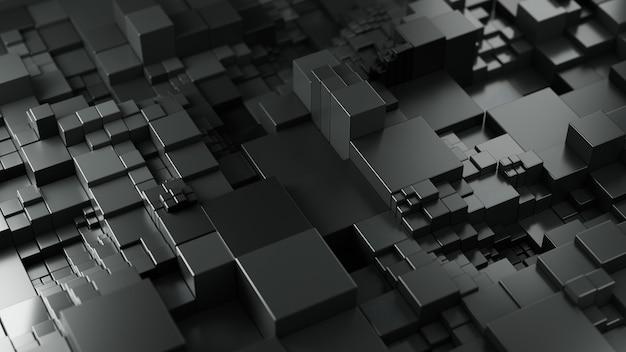 Sfondo astratto da cubi di colore nero. rendering 3d.