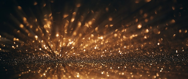 Sfondo astratto di luci glitter oro e nero con banner bokeh sfocato