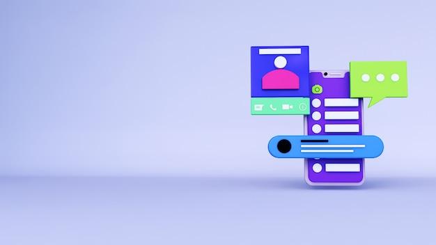 Sfondo astratto, layout applicazione telefono whatsapp con chat e profilo, per il web. rendering 3d