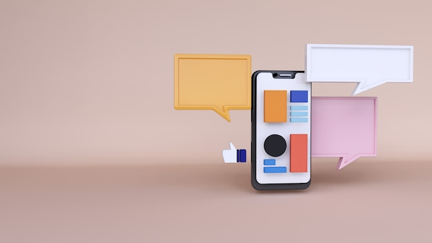 Sfondo astratto, mock up applicazione telefono scena con spazio chat, per il web. rendering 3d