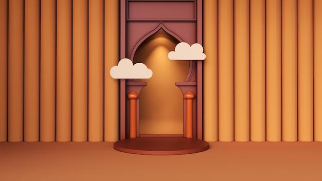 Sfondo astratto, mock up scena per il concetto di visualizzazione del prodotto di ramadan mubarak. rendering 3d