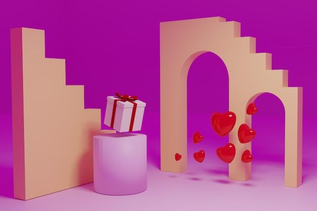 Sfondo astratto, scena di mock-up con podio per la visualizzazione del prodotto. rendering 3d.