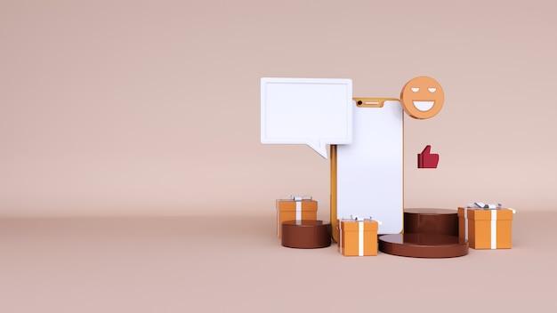 Sfondo astratto, mock up scena con podio per la visualizzazione del prodotto e chat spaziale, confezione regalo per il web. rendering 3d