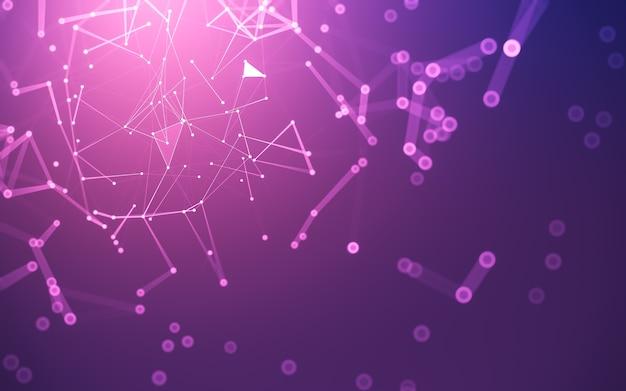 Sfondo astratto. tecnologia delle molecole con forme poligonali, punti e linee di collegamento. struttura di connessione. visualizzazione dei big data.
