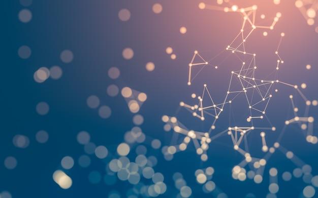 Sfondo astratto. tecnologia delle molecole con forme poligonali, punti e linee di collegamento. struttura di connessione. visualizzazione di big data.