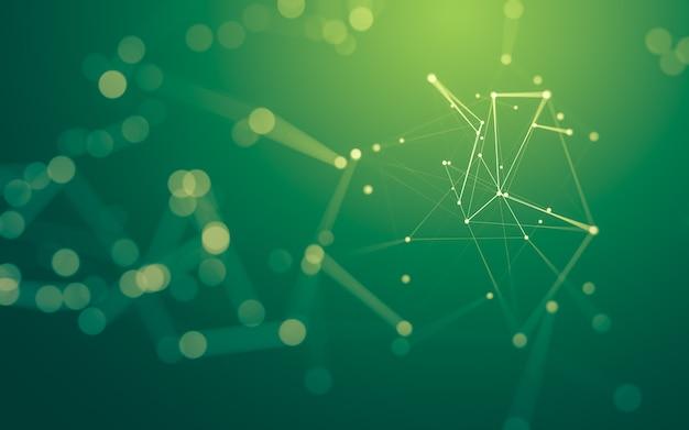 Sfondo astratto. tecnologia delle molecole con forme poligonali, punti e linee di collegamento. struttura di connessione. visualizzazione di grandi dati.
