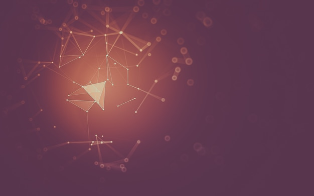 Sfondo astratto tecnologia delle molecole con forme poligonali, punti e linee di collegamento.