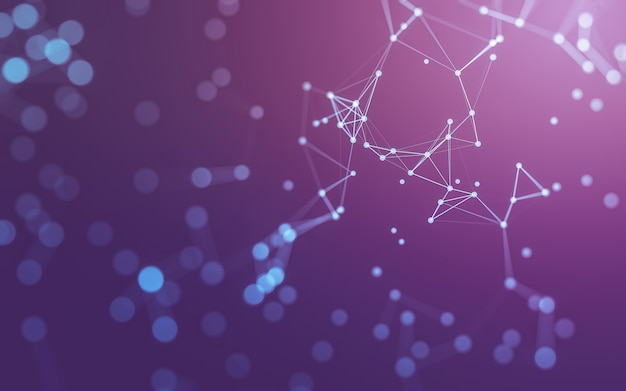 Sfondo astratto. tecnologia delle molecole con forme poligonali, punti e linee di collegamento.