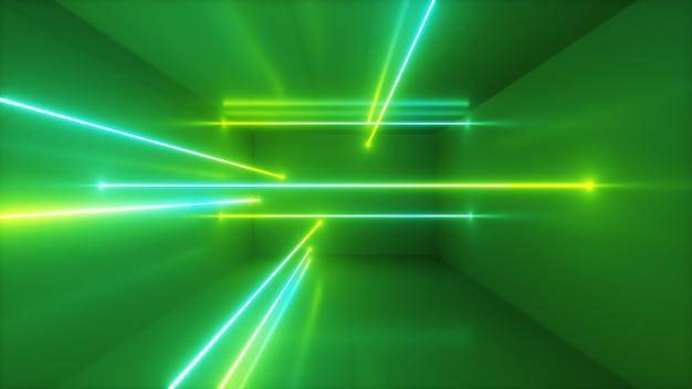 Priorità bassa astratta, raggi al neon commoventi, righe luminose all'interno della stanza, luce ultravioletta fluorescente, spettro di verde blu, illustrazione 3d