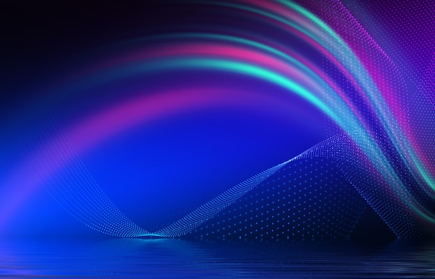 Sfondo astratto la luce multicolore al neon si riflette sull'acqua spettacolo di luci per feste in spiaggia