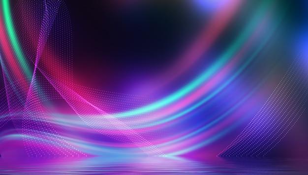 Sfondo astratto la luce multicolore al neon si riflette sull'acqua