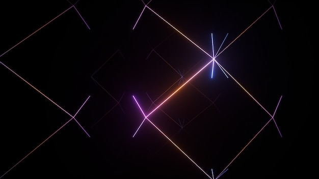 Sfondo astratto, raggi al neon all'interno di una scatola scura