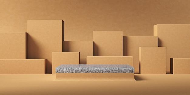 Sfondo astratto per la presentazione del prodotto, piattaforma in marmo grigio davanti allo sfondo dello strato di scatola beige. rendering 3d