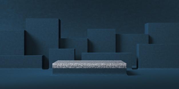 Sfondo astratto per la presentazione del prodotto, piattaforma in marmo grigio davanti allo sfondo dello strato di scatola blu scuro. rendering 3d