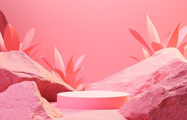 Scena astratta del fondo per la presentazione del pacchetto e del prodotto cosmetico, esposizione del podio di pietra, rappresentazione 3d.