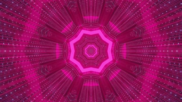 Sfondo astratto, ornamento simmetrico incandescente con luce al neon rosa e tunnel di formazione