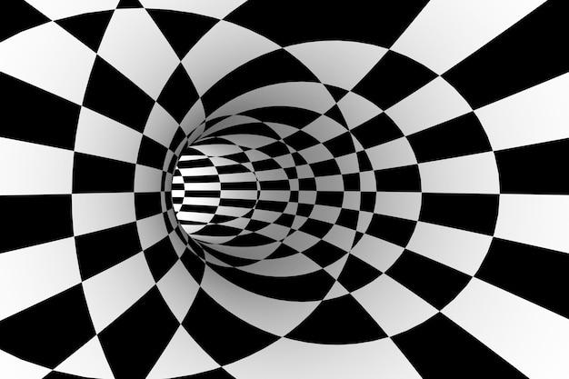 Sfondo astratto, tunnel illusione a scacchi in bianco e nero. rendering 3d.