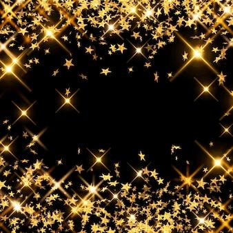 Sfondo astratto con coriandoli stelle cadenti di lamina d'oro, stelle d'oro su sfondo nero glitter
