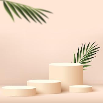 Sfondo astratto con podio 3d geometrico color crema