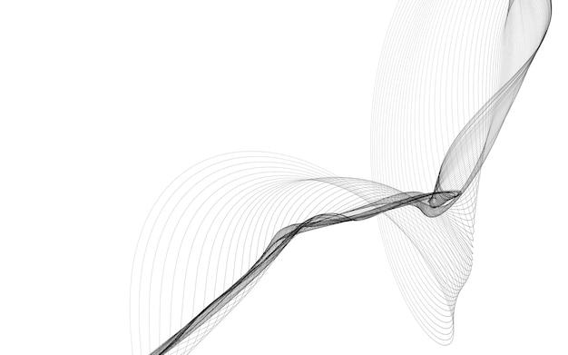 Sfondo astratto con linee d'onda monocromatiche su sfondo bianco. sfondo di tecnologia moderna.
