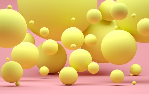 Sfondo astratto con sfere rosa con sfondo moderno di diverse dimensioni