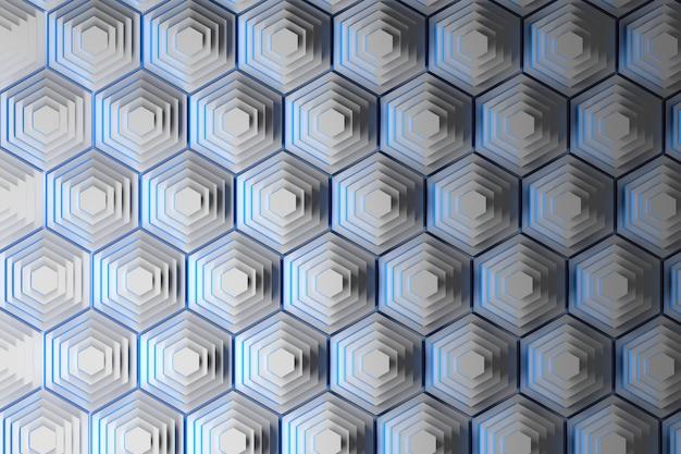 Sfondo astratto con piramidi di bianchi esagoni ripetuti con bordi blu.