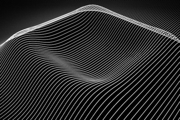 Sfondo astratto con linee di colore ondulate. l'animazione si increspa sulla superficie da linee al neon. illustrazione 3d