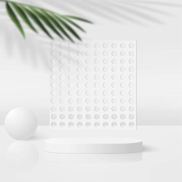 Fondo astratto con i podi geometrici 3d di colore bianco. illustrazione vettoriale.