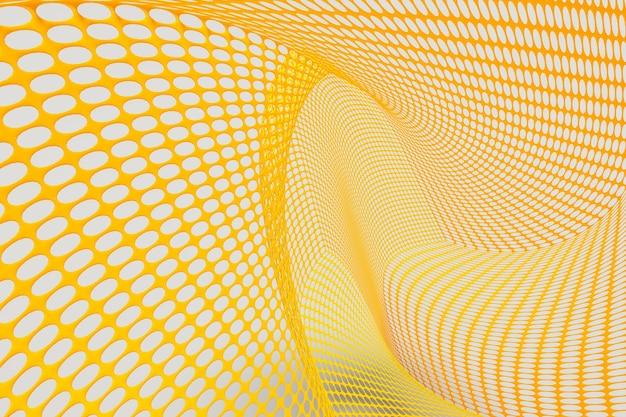 Sfondo astratto di maglia metallica gialla su sfondo grigio fuoco selettivo, colore dell'anno 2021, rendering di illustrazioni 3d