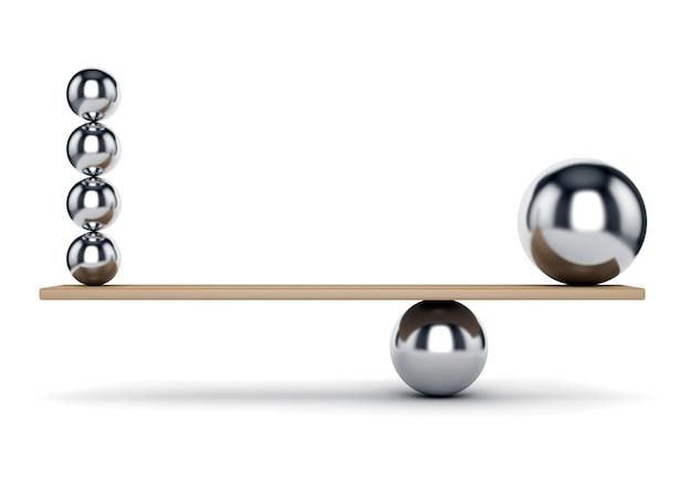 Concetto astratto di equilibrio, armonia e giustizia. sfere di metallo sulla plancia isolati su sfondo bianco.