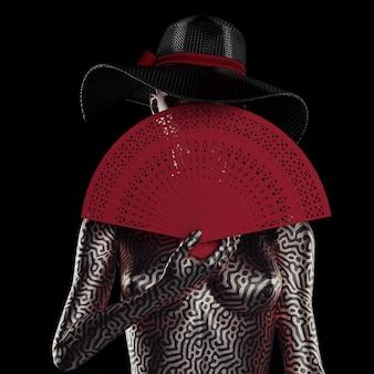 Manichino femminile di bellezza astratta o corpo di donna sconosciuto in cappello da sole estivo con ventaglio a mano in legno intagliato rosso su sfondo nero. rendering 3d