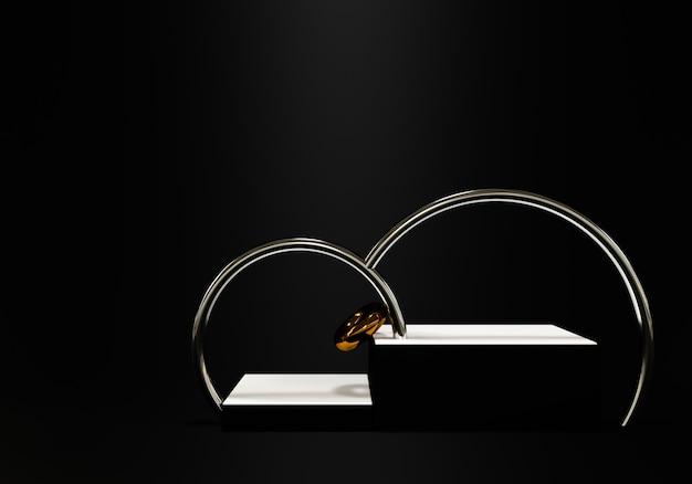Fondo nero astratto con podio di forma geometrica per prodotto. rendering 3d foto premium