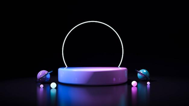 Fondo nero astratto con il podio di forma geometrica per il prodotto