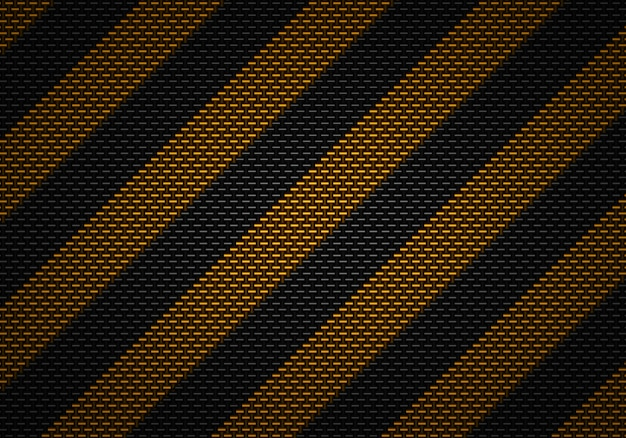 Disegno astratto materiale strutturato del carbonio nero con nastro adesivo d'avvertimento