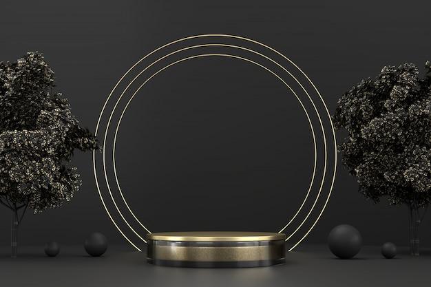 Podio della piattaforma del palco astratto nero e oro, per la visualizzazione di prodotti pubblicitari, rendering 3d.
