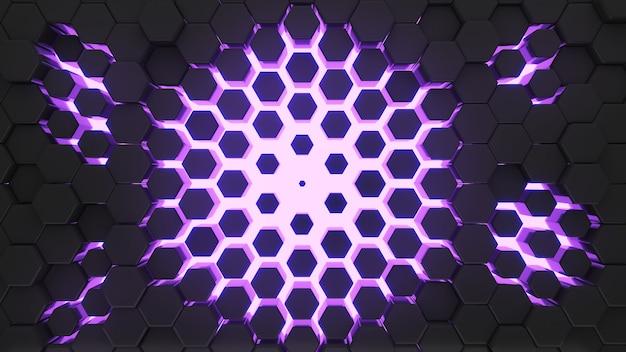 Fondo nero astratto di forma di esagono con il rendering 3d di luce viola