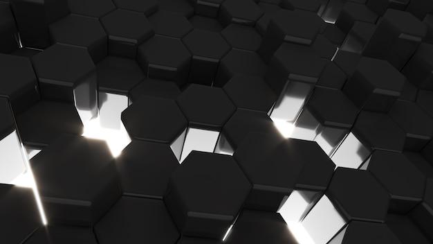 L'esagono nero astratto modella lo sfondo, la forma esagonale sollevata in alto e in basso, rendering 3d