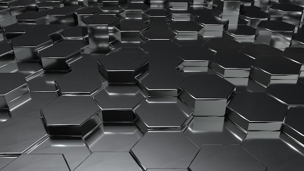 A nido d'ape metallico nero astratto sul fondo del pavimento a livello di superficie casuale. copia spazio. rendering 3d illustrazione
