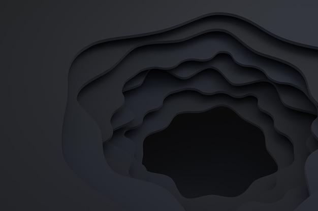 Carta nera astratta tagliata arte sfondo design, sfondo scuro ardesia
