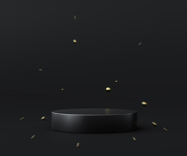 Base nera astratta del fondo del prodotto o piedistallo del podio sul display a esplosione con fondali vuoti. rendering 3d.