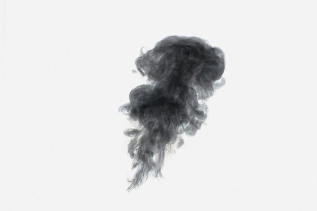 Vapore nero astratto o cerchi di fumo su sfondo bianco. sfondo originale, substrato, struttura del fumo.