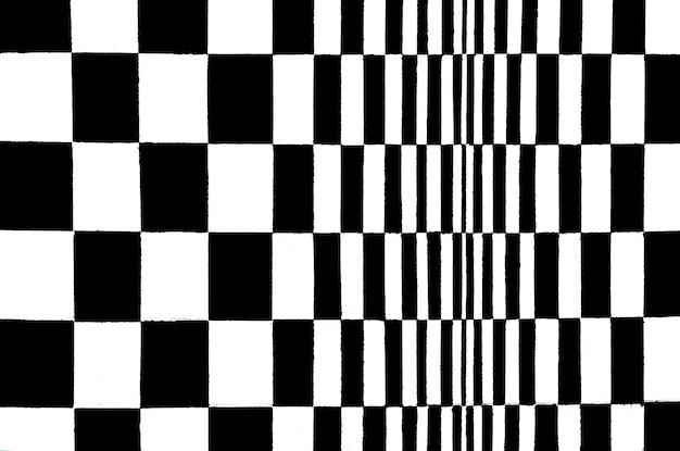 Pittura quadrata in bianco e nero astratta sul fondo della parete