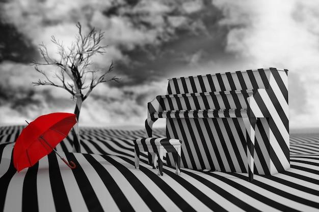 Paesaggio spogliato in bianco e nero astratto con pianoforte, albero morto e ombrello rosso a contrasto su uno sfondo di cielo drammatico. rendering 3d