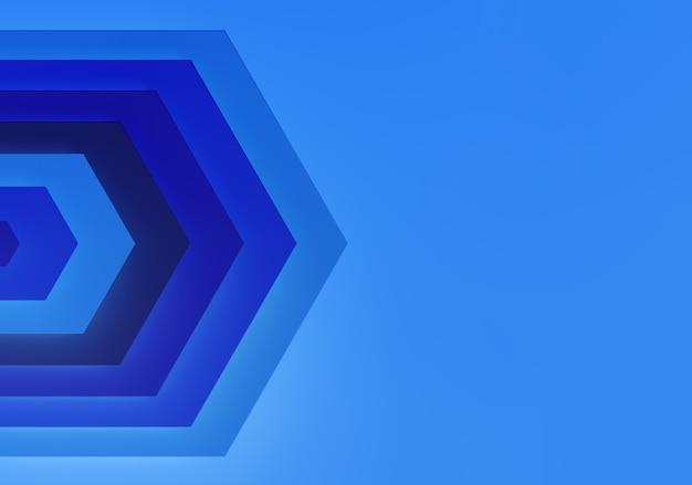 Fondo blu astratto con le frecce. tecnologia di profondità esagonale. rendering 3d.