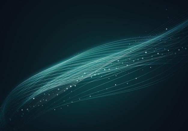 Astratto sfondo blu con linee e punti collegati flusso.