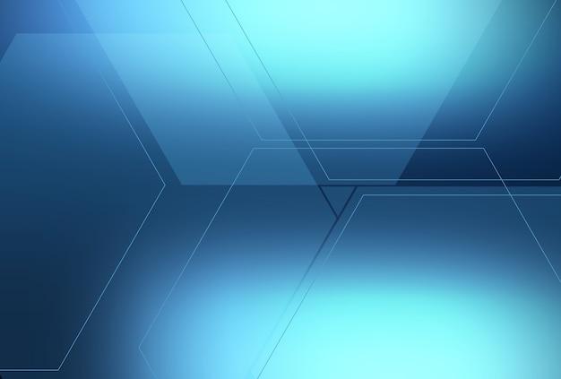 Sfondo blu astratto con più tratti di linea esagonale