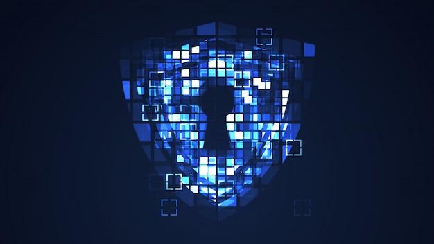 Fondo grafico di tecnologia digitale cyber blu astratta